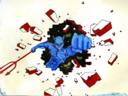 6 - Blue Devil Mural Sketch - Colored Pencil and Ink